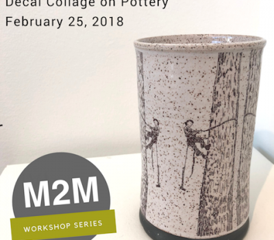February 25, 2018 Decal Collage on Pottery