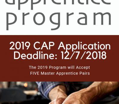 2019 Craft Apprentice Program Application Deadline: 12/7/2018